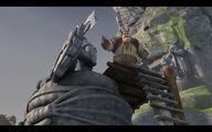 Pyskacz podczas budowania posągu Borka Wielkiego