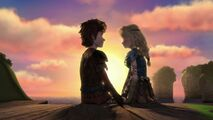 Hiccup and Astrid looking at each other after the kiss