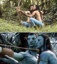 Zoe Saldaña y Sam Warrington praticando para Avatar.jpg
