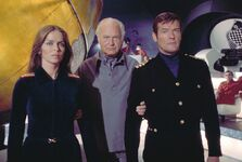 Roger Moore with Barbara Bach and Curd Jürgens in The Spy Who Loved Me
