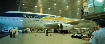 Skyfleet S570 exits hangar (Casino Royale)