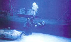 St Georges and Neptune miniatures underwater