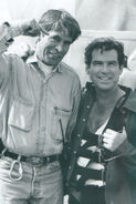 007- Dickey Beer on-set of Tomorrow Never Dies with Pierce Brosnon