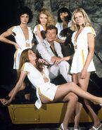 Roger Moore and Moonraker Bond Girls
