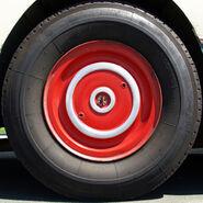 Red bus wheel