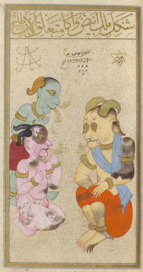 He is shown on the right in the form of an old wrinkled jinni with yellowish tanned skin. His shoulders are girdled with a blue stole and he wears orange shorts. He is shown with his knees bent while addresses two demons turned towards him, who listen carefully. The demon with the light pink complexion is seen kneeling, pointing a finger up to his mouth while the other demon, painted in green, stands behind him.