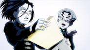 Toshikazu peeking at pages