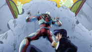 Crazy D uses pavement to shield Josuke