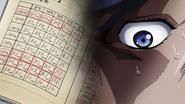 Josuke shocked at Kira's ledger