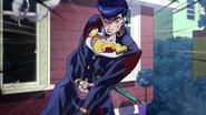 Wounded Josuke confronts Kira