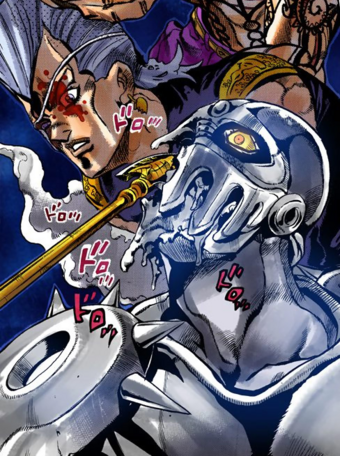Silver Chariot Jojo S Bizarre Wiki Fandom I belong to a guy with long pink hair and freaky eyes, but i don't like him very much. silver chariot jojo s bizarre wiki