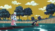 Josuke helps Joseph in water