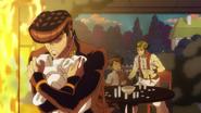 Josuke hiding Mikitaka from Rohan