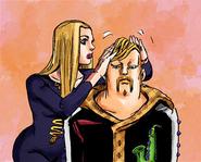 Hato tidies Damo's hair