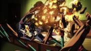 Josuke caught in explosion.png