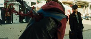 Josuke grabs the knife