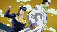 Josuke about to stab Jotaro