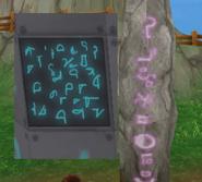 Board and runestone together -rotated
