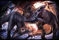 T-rex and Raptor vs Indominus rex