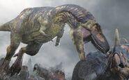 Dapletosaurus attacking Centrosaurus