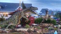 Old pro golf allosaurus and velociraptor