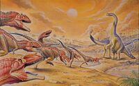 Giganotosaurus vs Argentinosaurus by PaleoPastori