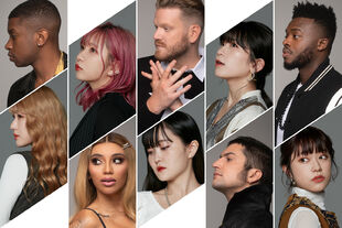 "Promotional photo for ""<!--LINK'"" 0:0-->"" (December 2020). (Top: Matt Sallee, MAYU, Scott Hoying, manaka, Kevin Olusola. Bottom: Karen, Kirstin Maldonado, Serina, Mitch Grassi, Asahi)"