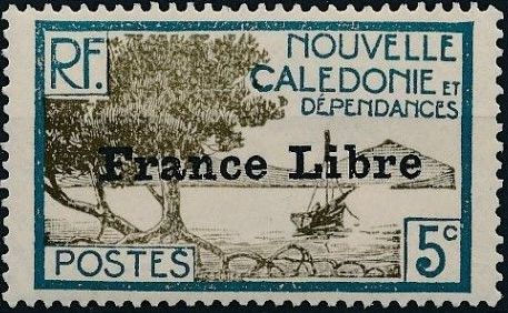 "New Caledonia 1941 Definitives of 1928 Overprinted in black ""France Libre"" e.jpg"