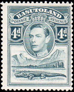 Basutoland 1938 George VI, Crocodile and River Scene f.jpg