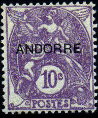 "Andorra-French 1931 Type ""Blanc"" of France Overprinted ""ANDORRE"" e.jpg"