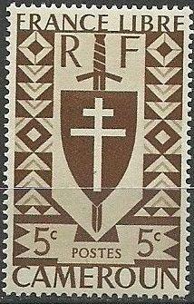 Cameroon 1941 Lorraine Cross and Joan of Arc Shield