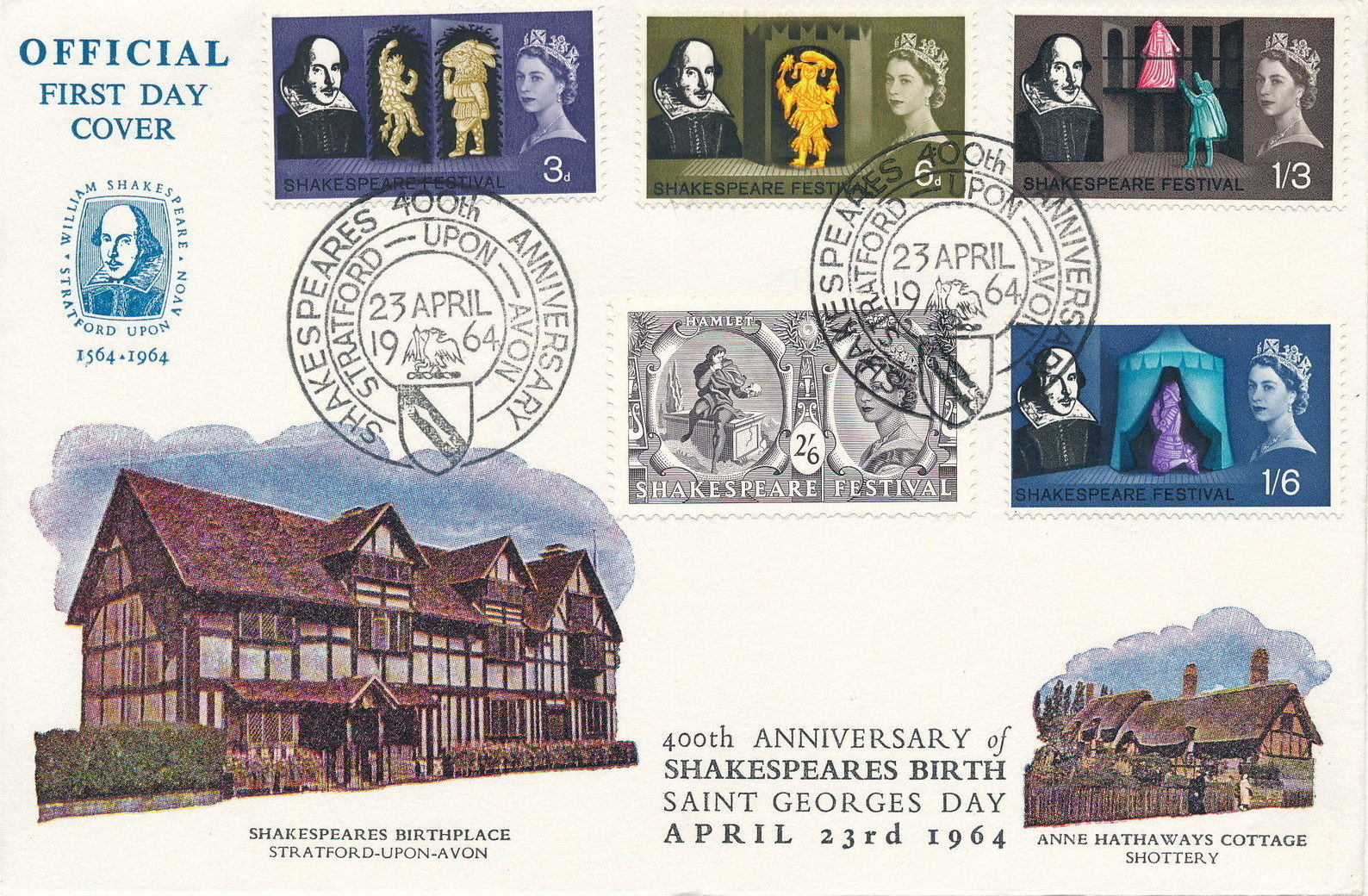Great Britain 1964 400th Anniversary of the Birth of William Shakespeare FDCb.jpg