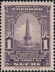 Ecuador 1945 150th Birth Anniversary Gen. Antonio Jose de Sucre - Air Post Stamps c.jpg