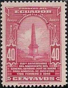 Ecuador 1945 150th Birth Anniversary Gen. Antonio Jose de Sucre - Air Post Stamps b.jpg