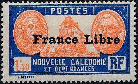 "New Caledonia 1941 Definitives of 1928 Overprinted in black ""France Libre"" y.jpg"