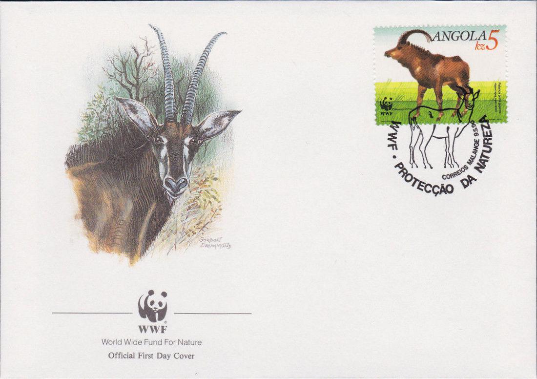 Angola 1990 WWF - Giant Sable Antelope FDCa.jpg