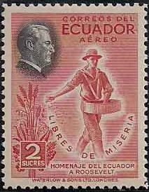 """Ecuador 1948 Franklin D. Roosevelt and Two of """"Four Freedoms"""" - Air Post Stamps d.jpg"""