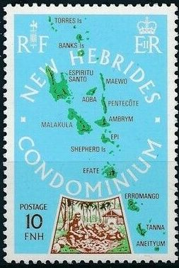 New Hebrides Condominium-British 1978 Map of New Hebrides