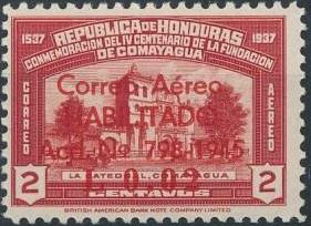 Honduras 1945 Air Post Stamps of 1937-1939 Surcharged b.jpg