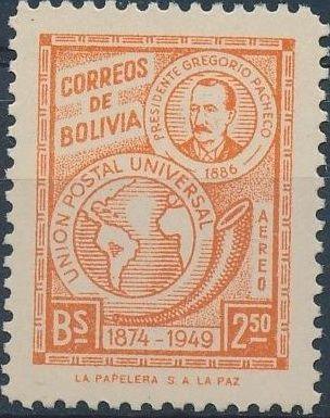 Bolivia 1950 75th Anniversary of the UPU d.jpg