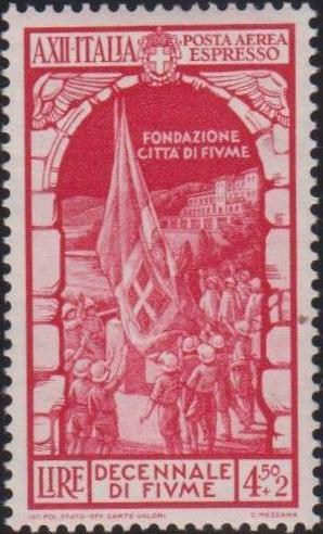 Italy 1934 10th Anniversary of Annexation of Fiume - Air Post Special Delivery Stamps c.jpg