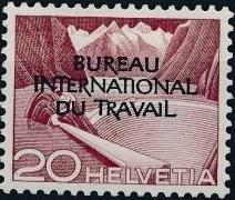 Switzerland 1950 Landscapes and Technology Official Stamps for The International Labor Bureau c.jpg