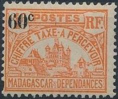 Madagascar 1924 Govenor's Palace Surcharged