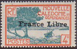"New Caledonia 1941 Definitives of 1928 Overprinted in black ""France Libre"" d.jpg"