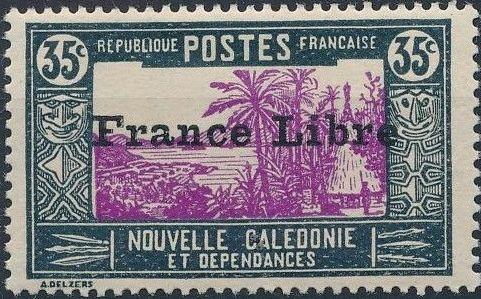 "New Caledonia 1941 Definitives of 1928 Overprinted in black ""France Libre"" k.jpg"