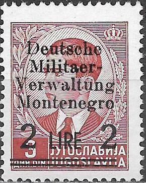 Montenegro 1943 Yugoslavia Stamps Surcharged under German Occupation d.jpg