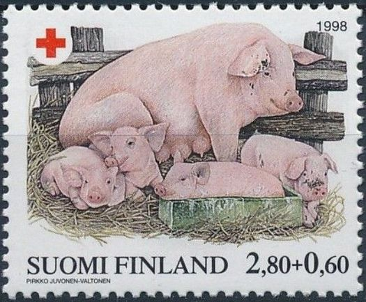 Finland 1998 Red Cross Fund - Pigs