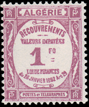 Algeria 1927 Postage Due Stamps (Type Recouvrements)