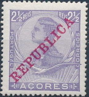 Azores 1911 D. Manuel II Overprinted REPUBLICA