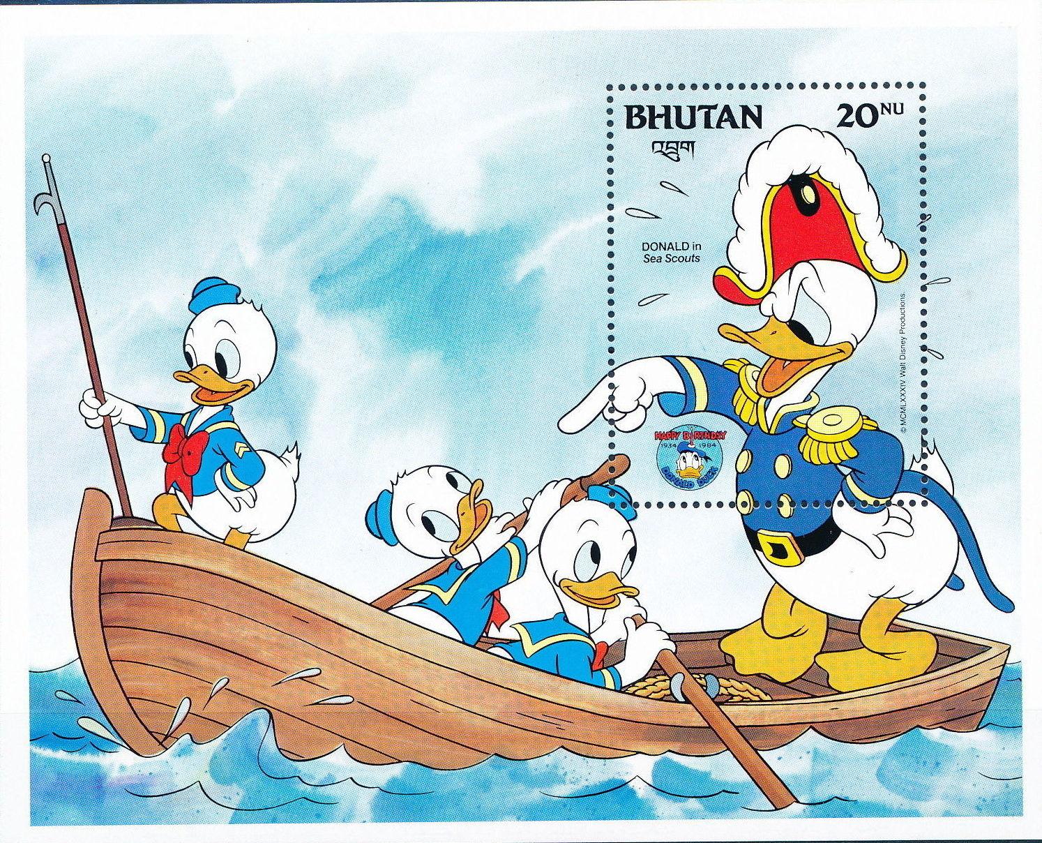 Bhutan 1984 50th Anniversary of Donald Duck p.jpg